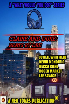 The image is a book cover with a city in the background. The title is 'Claire and Duke: Beats by Dre.'